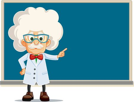 Funny Professor Pointing to Blackboard Vector Cartoon