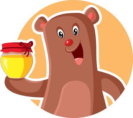 Cartoon Bear Holding Honey Jar Vector Illustration  イラスト・ベクター素材