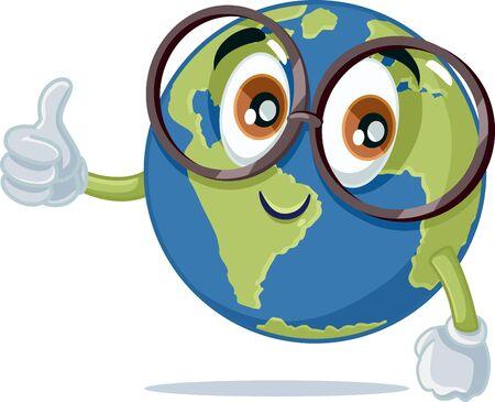 Funny Vector Earth Mascot Wearing Eyeglasses