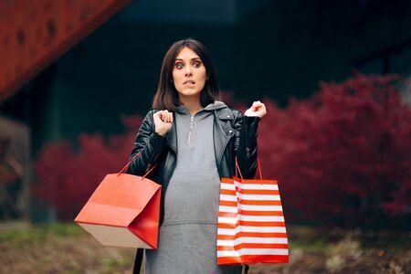 Tired Pregnant Woman Shopping in Autumn Season