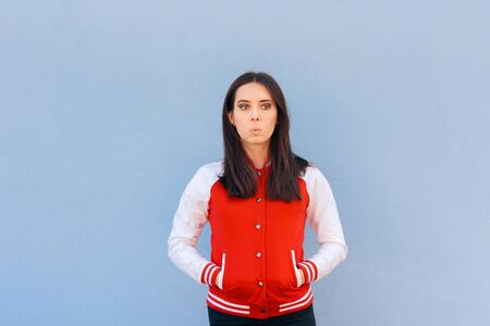 Confused Clueless Woman Wearing  College Style Jacket