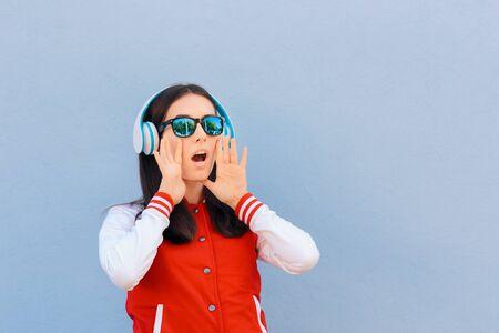 Student Wearing Headphones Shouting Announcement