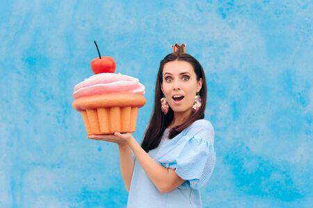 Birthday Woman Celebrating Holding Huge Cupcake
