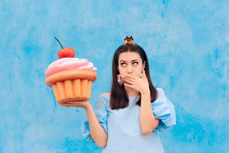Birthday Woman Eating Cupcake Feeling Sick