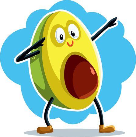 Funny Dabbing Avocado Vector Cartoon