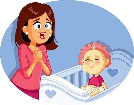 Feliz, madre, con, sonriente, bebé, vector, ilustración