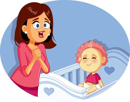 Happy Mother with Smiling Baby Vector Illustration