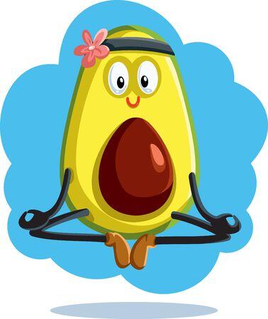 Meditating Avocado in Yoga Pose Vector Cartoon