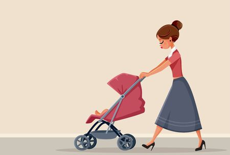 Young Mother Pushing Baby Stroller Vector Illustration Ilustrace
