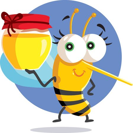 Cute Bee Holding a Honey Jar Vector Character