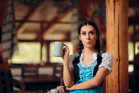 Oktoberfest Bavarian Waitress Holding Beer Mug