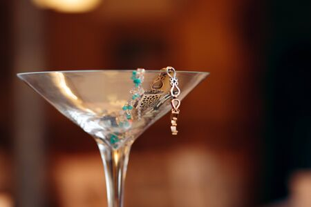 Giant Party Champagne  Glass Filled with Jewelry