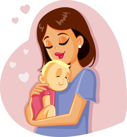 Loving Mother Holding Her Baby Vector Illustration Çizim