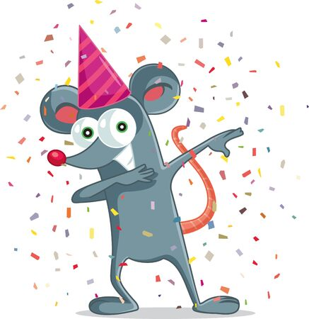 Funny Party Mouse Dabbing Vector Cartoon