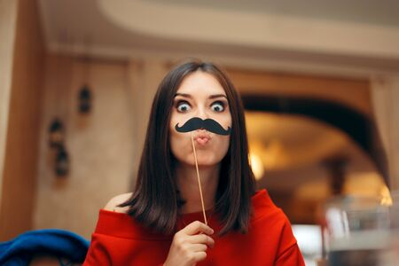 Funny Woman Wearing Party Mask Accessory Stok Fotoğraf