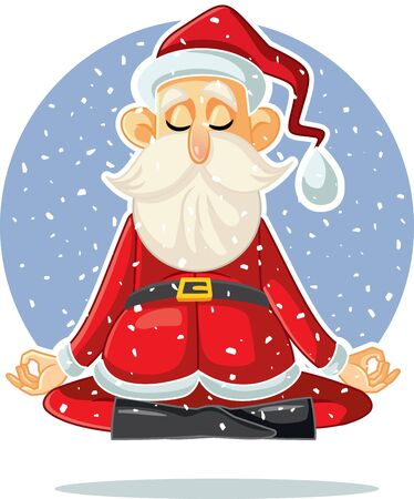 Santa Claus Meditating Vector Cartoon Illustration 矢量图像