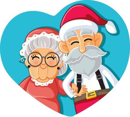 Santa and Mrs. Claus Christmas Couple Illustration