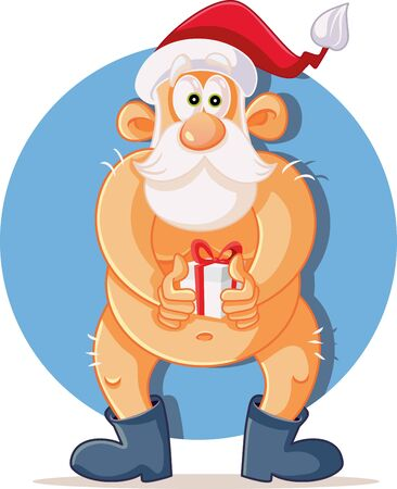 Funny Naked Santa Claus Holding Christmas Present Illustration
