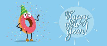 Happy New Year Party Donut Vector Cartoon