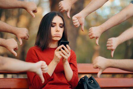Woman Getting Negative Reactions on Social Media Post Stock fotó
