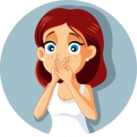 Donna malata che copre la bocca Vector Cartoon