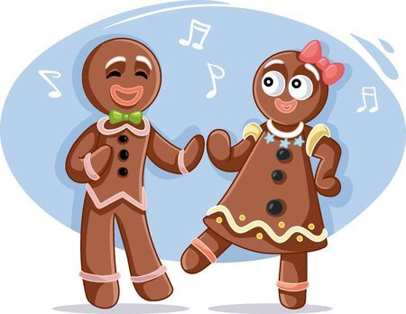 Sweet  Christmas Gingerbread Couple Dancing