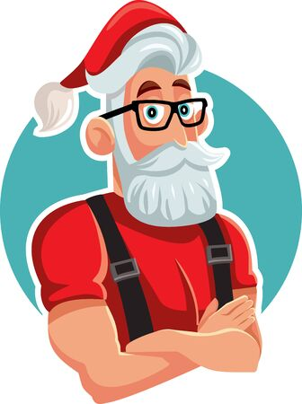 Cool Handsome Santa Claus Ready for Christmas Vector Illustration  イラスト・ベクター素材