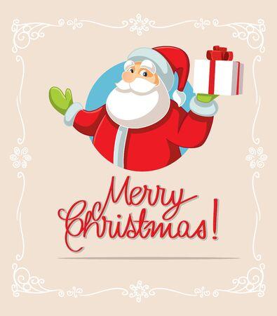Santa Claus Holding Christmas Gift Poster Design Vector Illustration