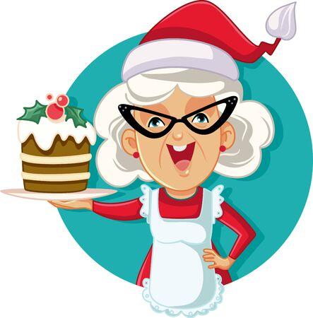 Abuela, tenencia, torta de navidad, vector, ilustración