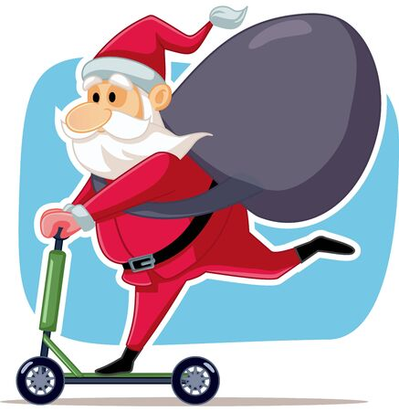 Santa Claus Riding Electric Scooter Vector Cartoon