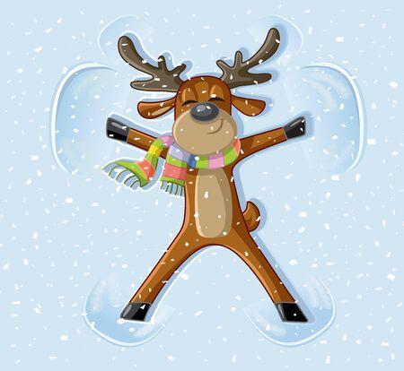 Snow Angel Reindeer Celebrating Christmas Cartoon Archivio Fotografico - 134940292