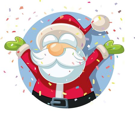 Santa Claus Celebrating with Confetti Vector Cartoon
