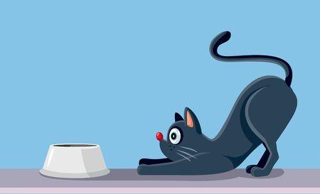Cat Eating Vector Cartoon Illustration Vektorové ilustrace