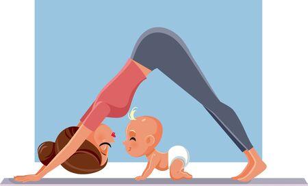 Madre haciendo ejercicio con su bebé en estera de yoga