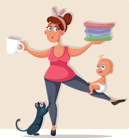 Busy Mom Feeling Overwhelmed with Household Chores