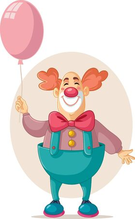Funny Vector Party Clown Holding Pink Balloon