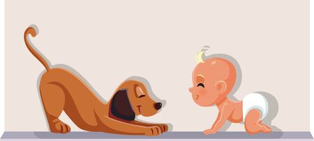 Baby Having a Dog as Pet Vector Cartoon