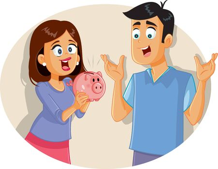 Happy Couple Saving Money Holding Piggy Bank Illustration
