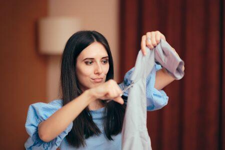 Girlfriend Having Jealousy Crisis Cutting Male Shirts 写真素材