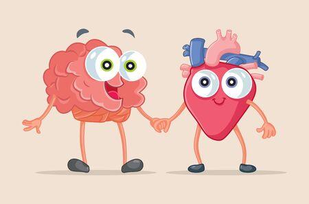 Heart and Brain Being Friends Vector Cartoon