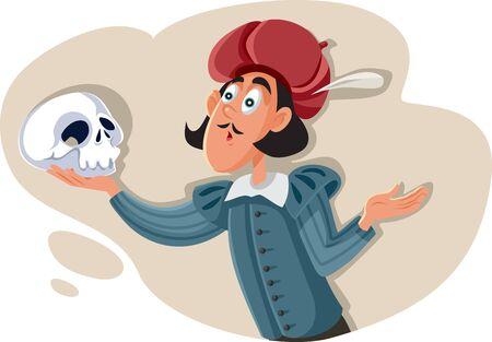 Hamlet Holding Skull Asking Existential Question Vector Illustration
