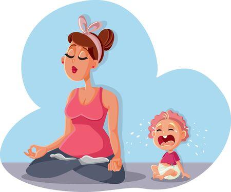 Mamá zen relajante en pose de yoga y llanto de bebé