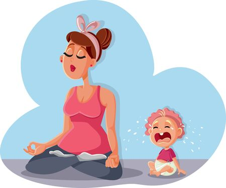 Zen Mom Relaxing in Yoga Pose and Baby Crying Ilustração