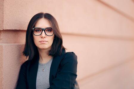 Portrait of a Business Woman Wearing Eyeglass