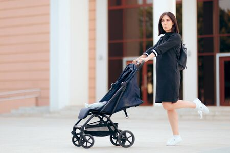 Woman Pushing Baby Stroller Jumping with Joy