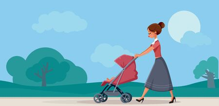 Mother with Baby in Pram Walking in the Park Illustration