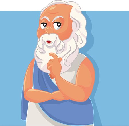 Socrates Classical Greek Philosopher Vector Cartoon