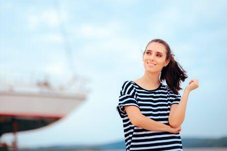 Portrait of a Summer Tourist Girl Visiting Harbor