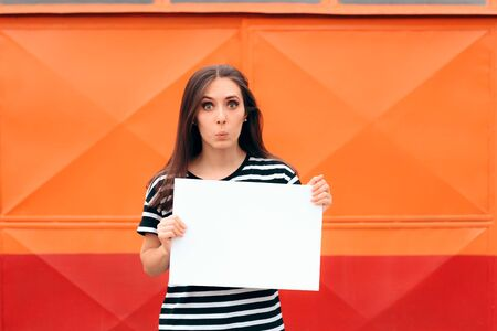Woman Holding White Advertising Sign