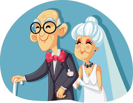 Old Bride and Groom Getting Married Vector Illustration